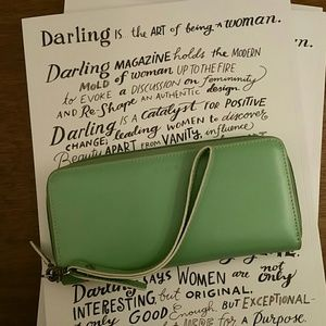 Lodis mint zip around wallet wristlet